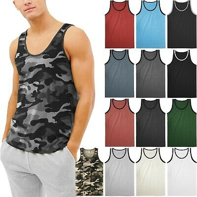 Mens TANK TOP SLEEVELESS SHIRTS Basic Gym Beach Active Tee Training Solid