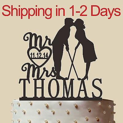 Personalized Silhouette Wedding Cake Wedding Golf Cake Topper Made in USA 6