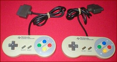 2 Official Controllers for Super Famicom - Super Nintendo SNES System TESTED