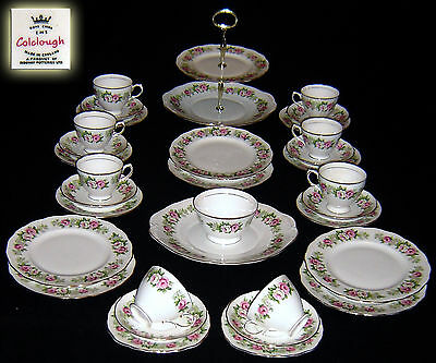 COLCLOUGH STAFFORDSHIRE ENGLAND ROSES TEACOFFEE SETSERVICE EXCEPTIONAL