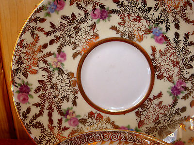 ENGLAND FINE BONE CHINA COLCLOUGH CUP AND SAUCER GOLD WITH DAINTY FLOWERS