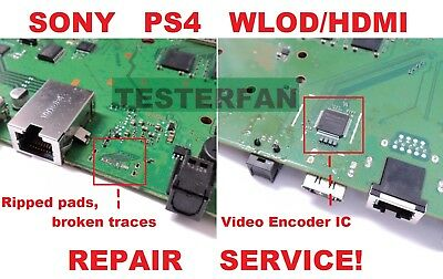 Fix Broken Sony PS4 System WLODHDMI Ripped PadsVideo Encoder IC Repair Service