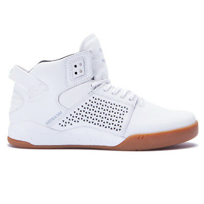 Supra Skytop III Shoes WhiteGum Mens Mid-Top Leather Basketball Sneakers