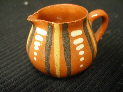 VINTAGE FRENCH MINIATURE ART POTTERY PITCHER TERRACOTTA CLAY HAND PAINTED FRANCE