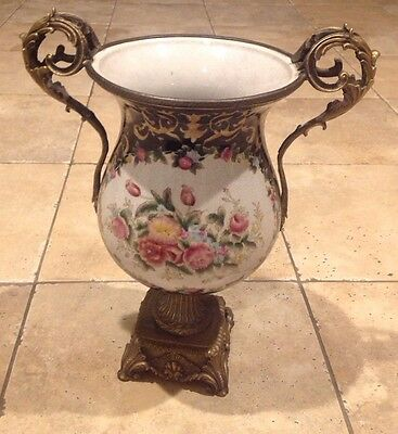 Antique Sevres Style Hand Painted Urn With Bronze  Mount  Handles Old Nice