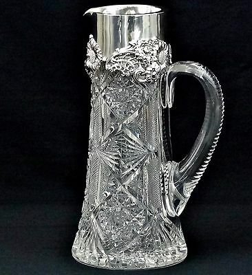 Beautiful Rare Antique Dominick And Haff Sterling Silver And Crystal Pitcher