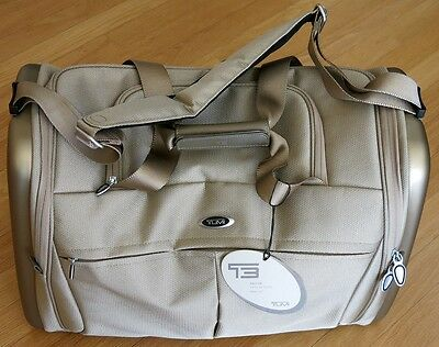 TUMI T3 FACTOR 6421 gold CARRY-ON DUFFLE bag tan champagne 250 weekender