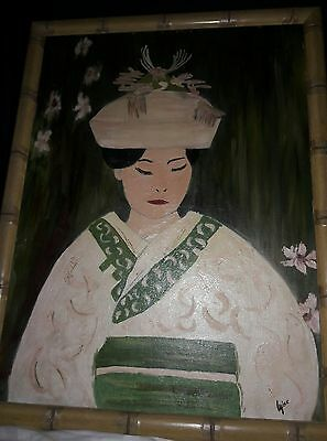 Vintage original mid century modern oil painting sighed bamboo frame portrait
