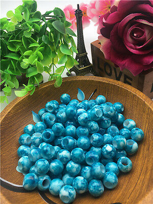 NEW Blue 10pcs speckle type big hole AB loose beads FREE SHIPPING2