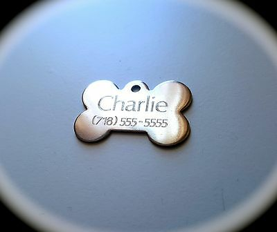 PET TAGS BONE 2-5cm ID STAINLESS STEEL 2 SIDE DIAMOND ENGRAVE DOG CAT NAME TAG
