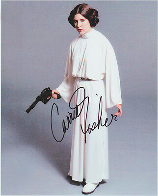 CARRIE FISHER HAND signed Autographed 8X10 photo wCOA STAR WARS BRAIDS NICE