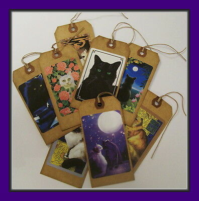 MYSTIC CATS PRIMITIVE HANG TAGS - SET OF EIGHT - VINTAGE STYLE - PURRFECT