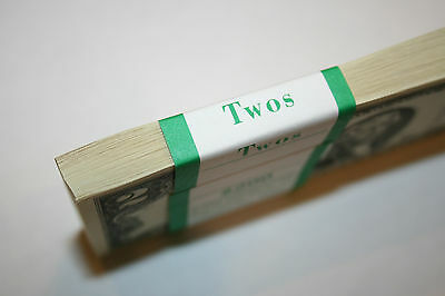 100 New Uncirculated 2 Two Dollar Bills BEP Pack 2013 in Sequential Order