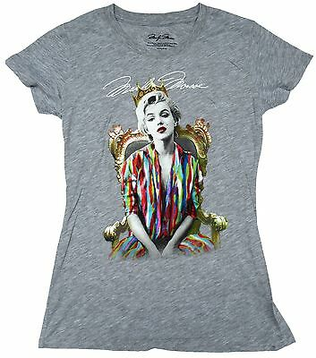Marilyn Monroe Womens Iconic Biggie Smalls Poster Licensed T-Shirt Gray New