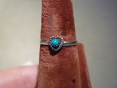 Signed-Sterling Silver Ring with Small Heart and Turquoise -Size 6
