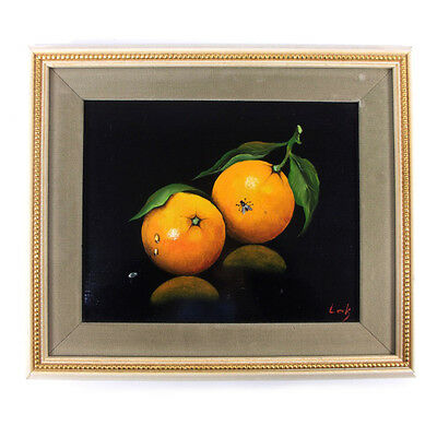 Vintage Oranges Still Life Fly Signed Oil Painting by Lak