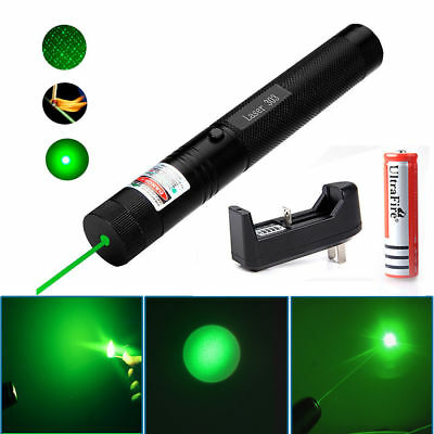 10Miles 532nm 303 Green Laser Pointer Lazer Pen Visible Beam Light-18650-Charger