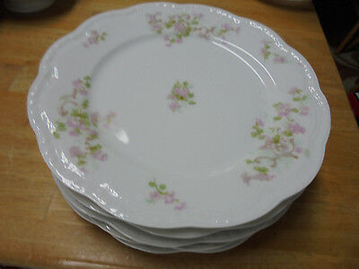 SET OF 6 LIMOGES DINNER PLATES by A- LANTERNIER  - MADE IN FRANCE