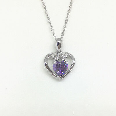 Fashion 925 Sterling Silver White Crystal Heart Pendant Necklace Women Jewelry