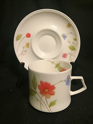 Mikasa Just Flowers Cup and Saucer Multi-Colored Flowers on White Mint