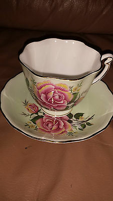 VINTAGE - PALE MINT GREEN WITH ROSES - COLCLOUGH CUP - SAUCER - ENGLAND