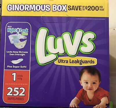 NEW Luvs Ultra Leakguards Diapers Size 1 252 Count FREE SHIPPING