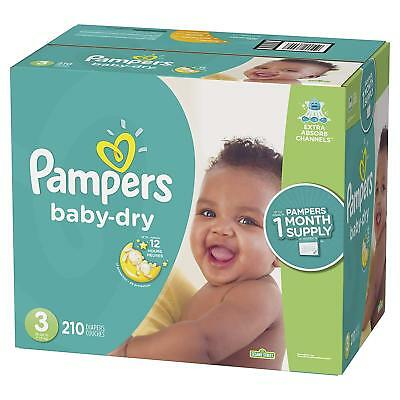 NEW Pampers Baby Dry Diapers Size 3 204 Count FREE SHIPPING