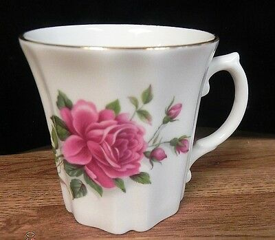 ROYAL GRAFTON FINE BONE CHINA PINK ROSES TEA COFFEE CUP-RIBBED SIDES-GOLD TRIM