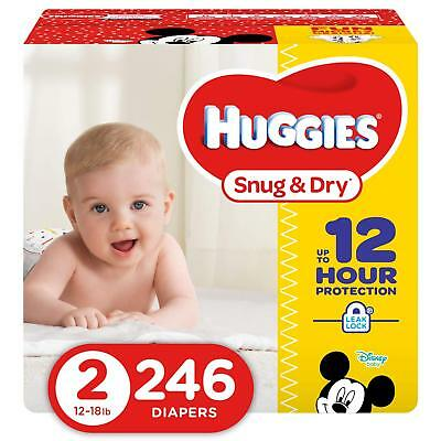 NEW Huggies Snug - Dry Diapers Size 2 246 Count FREE SHIPPING
