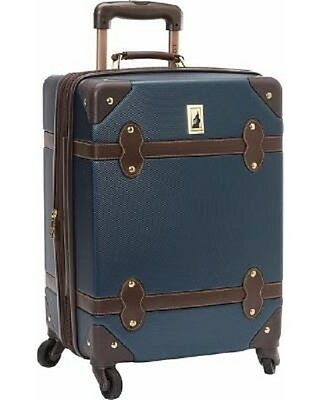 240 London Fog 20 Retro Spinner Hardcase Suitcase Luggage Blue Brown Carry On