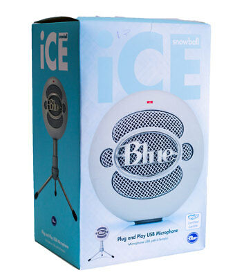 Blue Snowball Ice Plug n Play USB Cardioid Condenser Microphone w Stand White