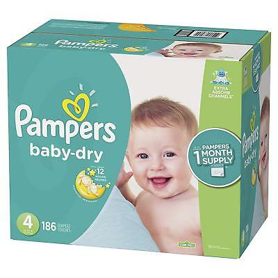 NEW Pampers Baby Dry Diapers Size 4 180 Count FREE SHIPPING