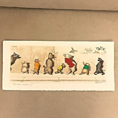 Original Boris OKlein Naughty Dirty Dogs of Paris Hand Colored Etching Prints