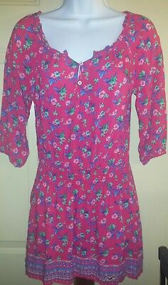 HOLLISTER CO PINK FLORAL PRINT ROMPER LIKESKATER DRESS SIZE EXTRA SMALL XS EUC