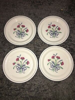 4 LENOX CHINASTONE bouquet bows POPPIES ON BLUE  salad plates