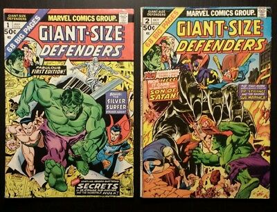 Giant Size Defenders 1 and 2 1974 Marvel lot of two books-combined shipping