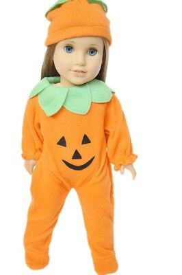 Pumpkin Halloween Costume Outfit Fits 18 Inch American Girl Doll Clothes