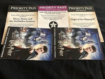 3 Universal Studios Hollywood Priority Passes  Harry Potter