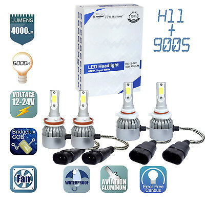 2Pair 9005 - H11 Combo LED Headlight Low High Beams Light Kit Bulbs 6000K