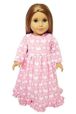 Pink Bunny Nightgown Pajamas Outfit Fits 18 Inch American Girl Doll Clothes