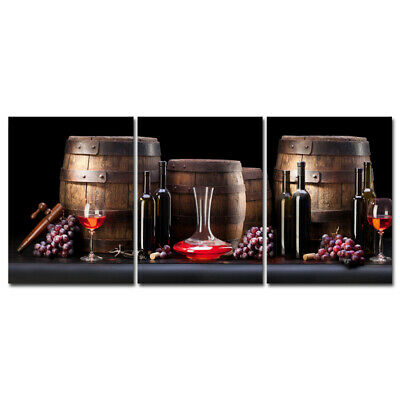 Canvas Print Painting Pictures Home Decor Wall Art Wine Grape Cafe Photo Framed
