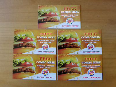 Five 5 Burger King Combo Meal Vouchers No Expiration Date Coupons Free Ship