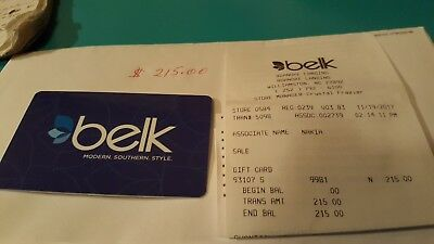 belk tyler gift card worth 215 for 200 free shipping