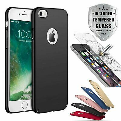 Case Ultra Thin Slim Hard Cover- Tempered Glass For Apple iPhone 8 6S 7  7 Plus