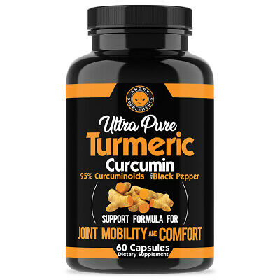 Angry Supplements Ultra Pure Turmeric 95 Curcumin w- BioPerine Pills 1 Bottle