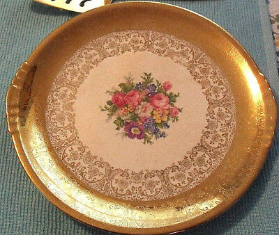 Vintage 22-Kt- Gold Edged Paden City Dish - Beautiful Gold-plated Serving Plate