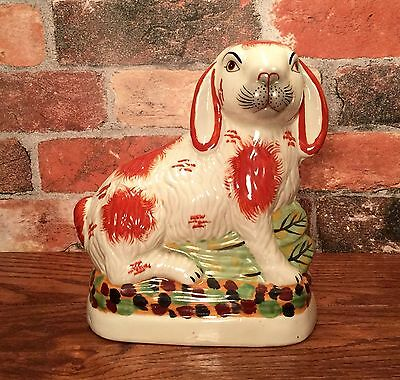 Staffordshire Red - White Bunny Rabbit Porcelain Figurine