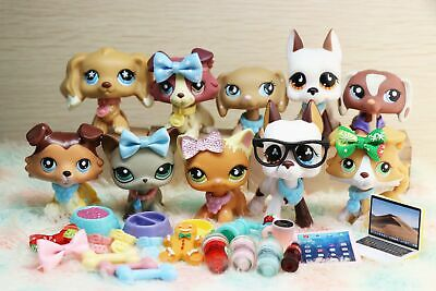 7 lot Rare Littlest Pet shop LPS Toy Great Dane Dogs Collie Cat Collection Gift