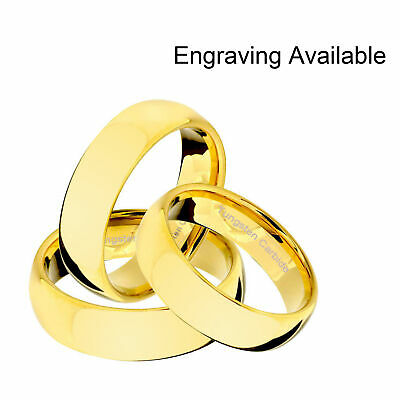 Tungsten Carbide 18k Gold Dome Polished Engagement Wedding Band Mens Womens Ring