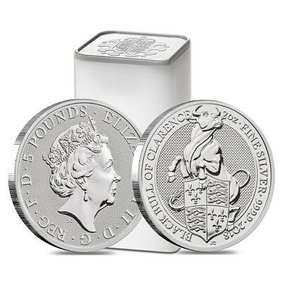 Roll of 10 - 2018 Great Britain 2 oz Silver Queens Beast Black Bull Coin BU